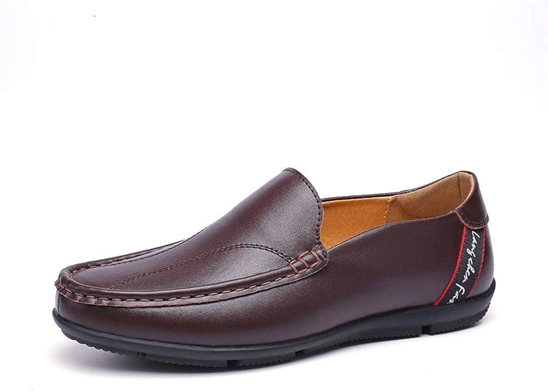 Easy Go Shopping Oxford Schuhe Mens Formelle Business-Schuhe Slip On OX Leder Flexible Runde Zehe Lightweight,Grille Schuhe (Farbe   Dunkelbraun, Größe   43 EU)