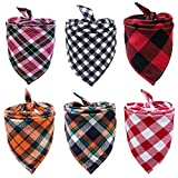 6 Pack of Dog Bandana Washable Reversible Triangle Bibs Scarf, Plaid Painting Kerchief for Small/Medium Dogs and Cats Fall Christmas