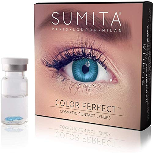 SUMITA Color Perfect (Zaffiro) Lenti a Contatto Colorate, Lenti a Contatto Mensili, morbide, durata di 1 mese,Proteggono gli occhi dai raggi UV, Non Graduate, Made in Corea, Design italiano