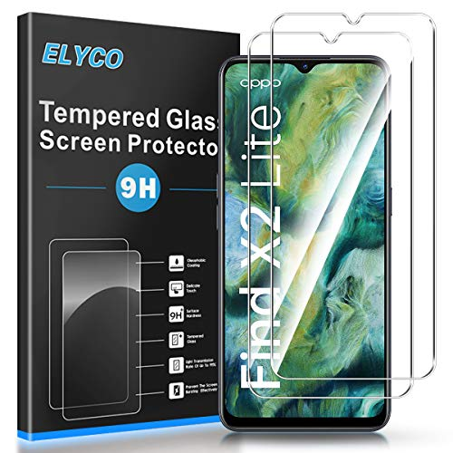 ELYCO Panzerglas Schutzfolie für Oppo Find X2 Lite/Oppo A91, [2 Stück] 9H Festigkeit Panzerglasfolie Bläschenfrei Anti-Öl/Anti-Kratzer/Anti-Fall HD Bildschirmschutzfolie für Oppo Find X2 Lite/Oppo A91