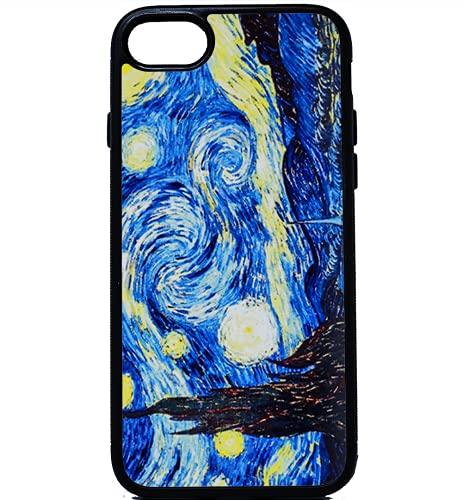 BKstuff Cover Opera d'Arte, Quadri Famosi Stampa HD (iPhone 7 Plus, Notte Stellata, Van Gogh)