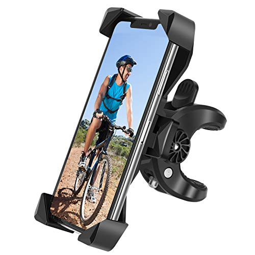 "Bike Phone Mount, One-Touch Release Bike Phone Holder, 【Newest】 Gobeigo Anti Shake and Stable 360° Rotation Cell Phone Bicycle/Motorcycle Handlebar Mount for iPhone, Samsung & Smartphone in 4"" - 7"""