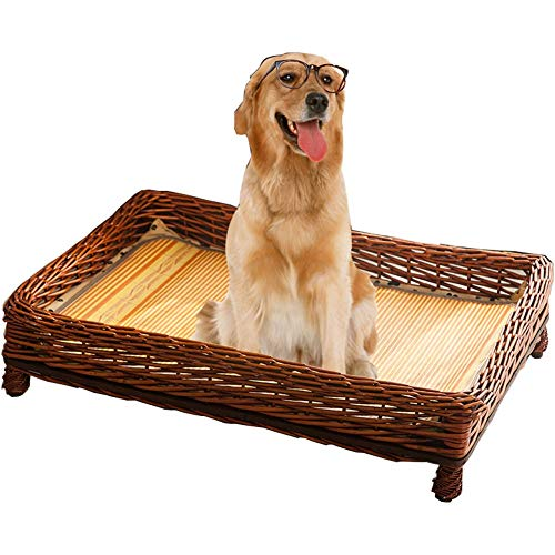 YAOJIA Pet bed Pet Basket For Cats And Dogs | Hand-woven Rattan Pet Nest With Mattress | Suitable For Small And Medium Pets Bedding & Furniture for Dogs (Color : A, Size : 49X35X10CM)