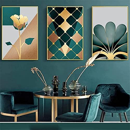 XIANGY Cuadro sobre lienzo con hojas grandes doradas, verdes, plantas, flores, monstera, póster artístico, para pared,...
