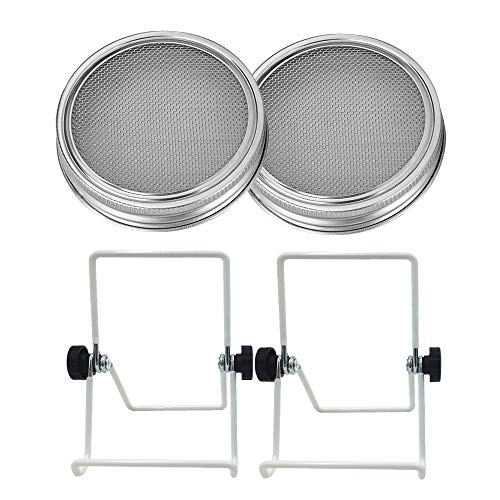 2 Set Stainless Steel Sprouting Jar Lid Sprouting Stands for Wide Mouth Mason Jars Canning Jars Grow Organic Sprouts Broccoli Lentil Seeds