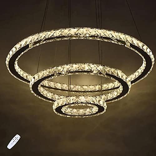 Kristall 3 Ring Pendellampe Modern LED Pendelleuchte Esstisch Hängelampe Hängeleuchte Dimmbar Hoehenverstellbar Kronleuchter Lampe Leuchte Deckenleuchte für Wohnzimmer Esszimmer Schlafzimmer Ø60cm