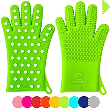 Finally! Heavy-Duty Women's Silicone Oven Mitts by Love This Kitchen | 2 Sizes Available in 9 Colors | Heat Resistant Gloves For Her Cooking, Baking & Barbecue Needs (1 Pair, XS/S, Lime Green)