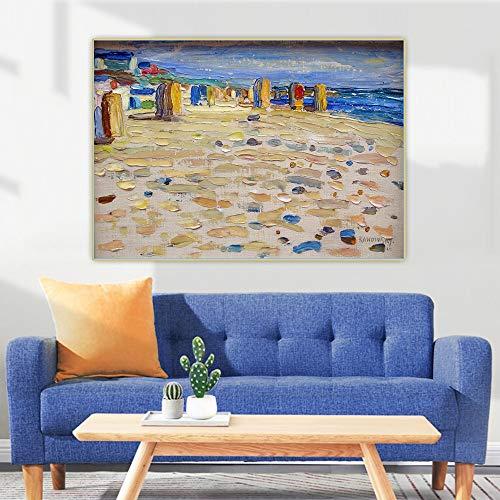 FANGYUEART Wassily Kandinsky Plakate 《Holland, Strand Stühle》 Leinwand Gemälde Wandkunst Bilder für Wohnzimmer Dekor Wohnaccessoires 40x50cm16 x20 (Rahmenlos)