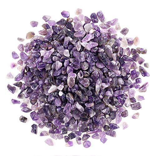 Swpeet 1 Pound Amethyst Small Tumbled Chips Stone Gemstone Chips Crushed Pieces Irregular Shaped Stones Crystal Chips Stone Perfect for Jewelry Making Home Decoration