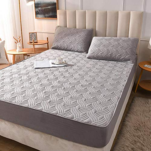 LCFCYY Waterproof Mattress Protector, Anti mite, Antibacterial,Mattress Topper,Cotton thick mattress non slip protective cover,dust proof mite proof soft solid color bed sheet G 90x200cm