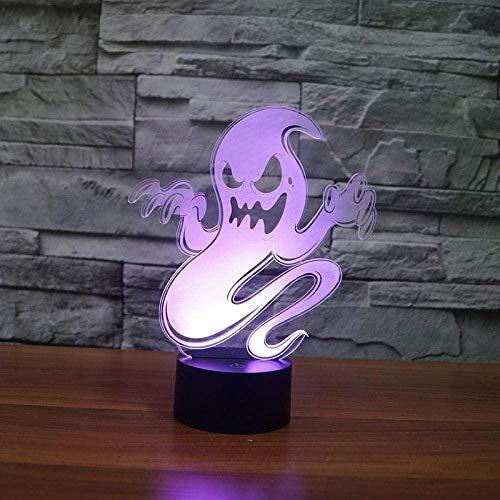 3D Illusion 7 Farbe Nachtlicht Kreative Dekoration Halloween Ghost Stereoscopic Vision Einfach Romantisches Zuhause Wohnzimmer Schlafzimmer Geschenk Lichter Dekorative Lichter