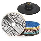 7 Piezas 4 Pulgadas Diamond Polishing Pad Húmedo para Pulidor de Piedra Mojada Pulidora Diamante Accesorios