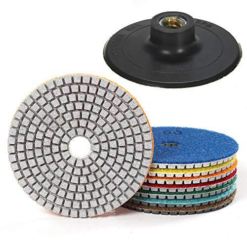 7 Stück 4 Inch Diamant Nass Polierscheibe Set mit Unterstützung Pad für Granit Stein Beton Marmor Bodenschleifer Oder Polierer