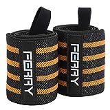 (フェリー) FERRY リストラップ ウエイトトレーニング 手首固定 60cm(2枚組) ブラック/オレンジ