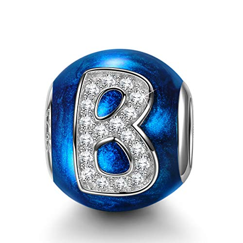 NINAQUEEN Charm fit Pandora Charms Letter B Blue 925 Sterling Silver Women's Gifts for Her with Jewellery Box, fits European Bracelets Compatible