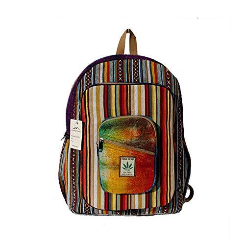 Hemp Backpack | 100% Pure Hemp - All Natural Handmade Multi Pocket Large Laptop Backpack | Travel Backpack - For Women and Men | Laptop Sleeve -Water Bottle Pockets | Boho Hippie - Rainbow