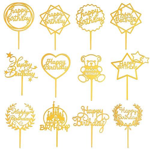 FRIUSATE 12 Stück Happy Birthday Cake Topper Set, Gold Geburtstag Kuchen Topper Acryl Glitter Cupcake Topper Tortenstecker Dekoration für Kinder Mädchen Junge Party Baby