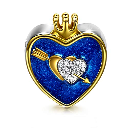 NinaQueen The Arrow Of Love 925 Sterling Silver Heart Crown I Love You Navy Bead Charms Fit pandöra Charms for Bracelet Necklace Anniversary Christmas Gifts for Women Valentines Day Gifts For Her