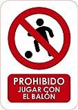 Oedim Señaletica de Prohibido Jugar con el balón 15x21cm | Material PVC Resistente | 3mm de Grosor