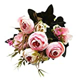 MOIKA 1 Bouquet Fleur Artificielle Pivoine Décor Plante Extérieur Hôtel Bureau Célébration Famille Rétro Mini Bouquet de Fleurs Artificielles