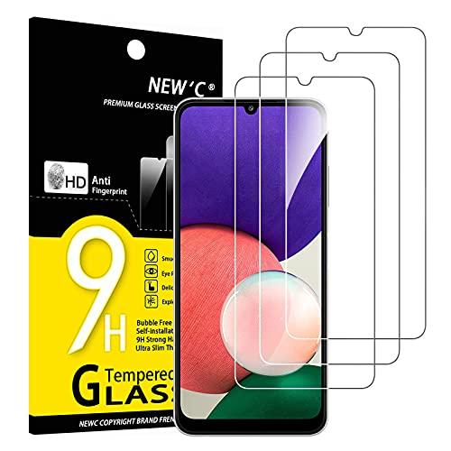 NEW C 3 Pezzi, Vetro Temperato per Samsung Galaxy A22 4G (Non per Samsung Galaxy A22 5G), Pellicola Prottetiva Anti Graffio, Anti-Impronte, Durezza 9H, 0,33mm Ultra Trasparente, Ultra Resistente