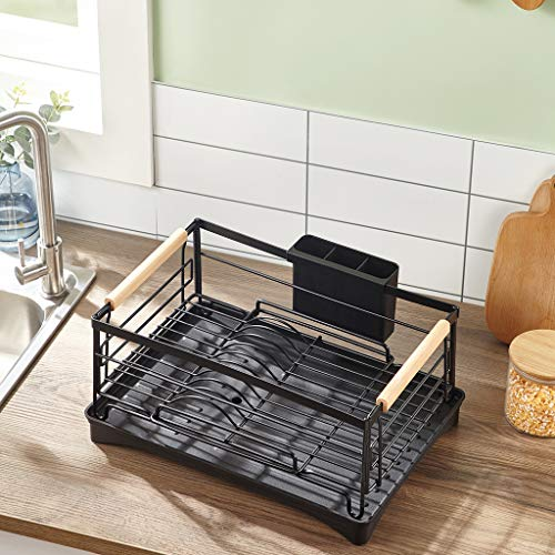 KAKIBLIN Dish Drying Rack, Stainless Steel Dish Rack and Drainboard Set for Counter Large Kitchen Dish Rack with Drain Board, Black