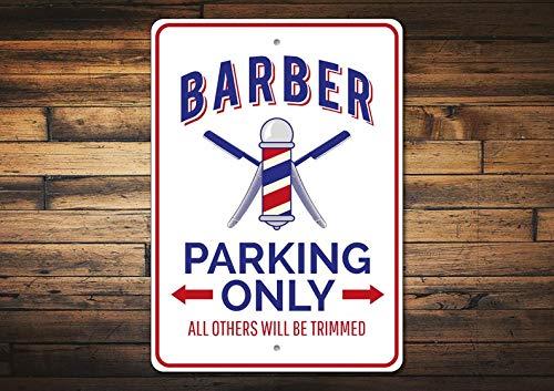 Parkplatz-Schild, Barber Geschenk, Barber Schild, Barber Decor, Barber Shop, Barber Pole Schild, Geschenk für Barber Shops, hochwertiges Aluminium