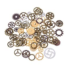 BESTIM INCUK 120 Gram Antique Bronze Vintage Skeleton Keys Steampunk Gears Cogs Charms Pendant Clock Watch Wheel for Jewelry Making Supplies, Steampunk Accessories, Craft Projects (Approx 80pcs) #2