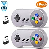 2 Pack 2.4 GHz Wireless USB Controller Compatible with Super NES Games, iNNEXT SNES Retro USB PC Super Classic...