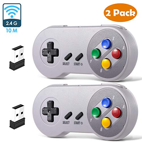 2 Pack 2.4 GHz Wireless USB Controller Compatible with Super NES Games, iNNEXT SNES Retro USB PC Super Classic Controller for Windows PC MAC Linux Genesis Raspberry Pi Retropie (Multicolored Keys)