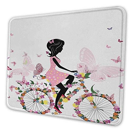 Fahrrad Gaming Mouse Pad Mädchen in einem rosa Kleid Fahrrad fahren mit bunten Blumen und romantischen Schmetterlingen Mauspad für Frauen ziemlich mehrfarbig
