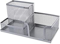 Mesh Metal Desk Organizer Home Office Students Desk Pen Storage Organizer In Order with 3 Compartments