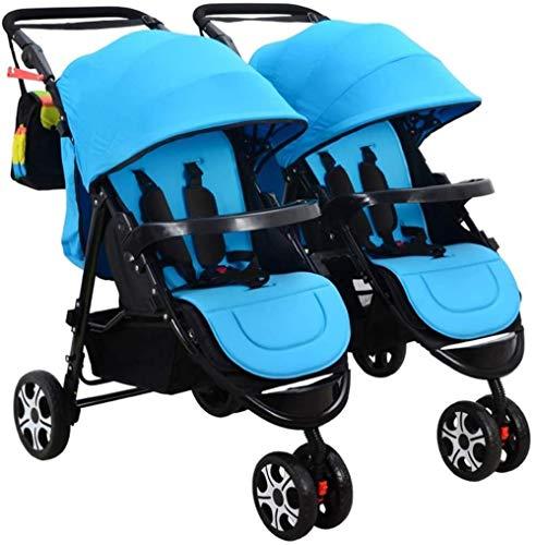 HZYD Poussette Double, Double Tandem Poussette de bébé, 5 Points Ceintures de sécurité, Design Pliable for Easy Transport (Couleur: Violet) (Couleur: Rose), Couleur: Rouge ( Color : Blue )