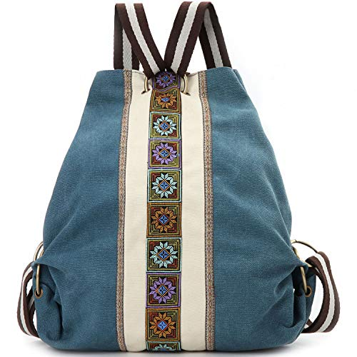 Women Canvas Backpack Daypack Casual Shoulder Bag, Vintage Heavy-duty Anti-theft Travel Backpack (Green Blue)