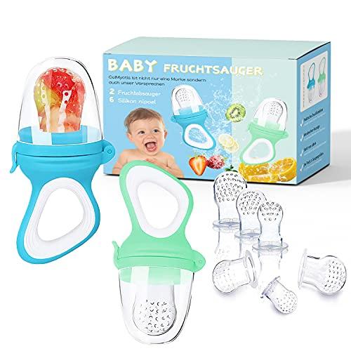 Fruchtsauger Kleinkind Baby, 2 Stück Schnuller Beißring für Obst Gemüse Brei Beikost, schmerzlindernder Beißring Fruchtschnuller zugleich, 6 Silikon Sauger in 3 Größen (Blau + Grün)
