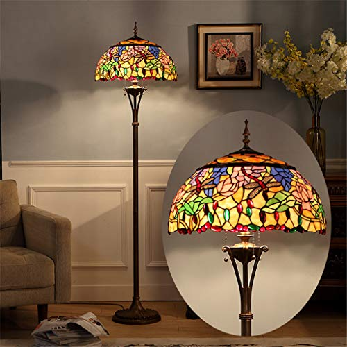 Tiffany - Lámpara de pie de 18 pulgadas, estilo clásico, europea, de cristal, para casa,...