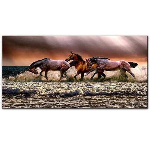 YB lopende paarden muurschilderingen canvas abstracte dieren posters en afdrukken pop-art prints Cuadros foto's voor de woonkamer 50 x 100 cm zonder lijst
