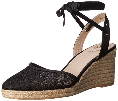 Adrianna Papell Women's Penny Espadrille Wedge Sandal, Black, 7 UK/8 M US