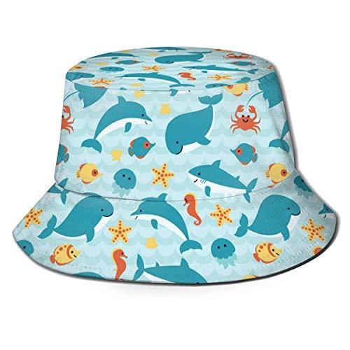 Hai Cartoon Krabbe Seepferdchen Unisex Druck Eimer Hut Muster Fischer Hüte Sommer Wende Packbare Kappe Frauen Männer Mädchen Junge