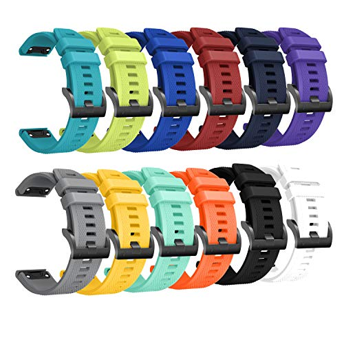 Best Bargain Sunter 22mm Width(12 Pack) Soft Silicone Sport Replacement Watch Strap Band Wristba...