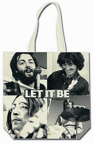 """Rocks-off Einkaufstasche mit Beatles-Motiv:Mit englischer Aufschrift """"Let it be"""" (mit Reißverschluss Oben)"""