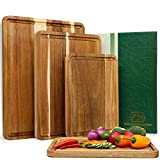 Large Wood Cutting Boards Set of 4 for Kitchen Cheese Charcuterie...