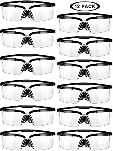 Black Workplace Safety Glasses Protective Goggles Eyewear Clear Splash Windproof Dustproof Goggles Wrap-Around Lenses and No-Slip Grips Protection for Workplace Industrial Class (12)