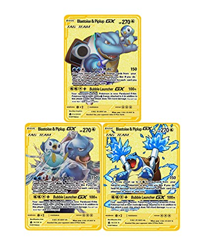 3 PCS Rare Metal Card,Mblastoise EX Reshiram&Charizard GX Blastoise & Piplup GX ,Golden Metal Gold Plated Collection Cards, The Best Gift for Collectors! (Blastoise & Piplup GX)