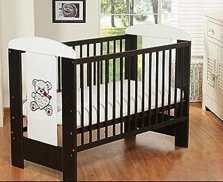 Best For Kids Gitterbett My Sweet Baby in 3 Farben mit neuer 10 cm Matratze aus Schaumstoff TÜV Zertifiziert Geprüft, Kinderbett Babybett braun 4 Teile 120x60 Braun