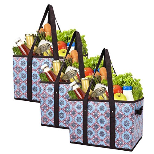 Foraineam Reusable Grocery Bags Set Durable Heavy Duty Tote Bag Collapsible Grocery Shopping Box Bag with Reinforced Bottom Pack of 3
