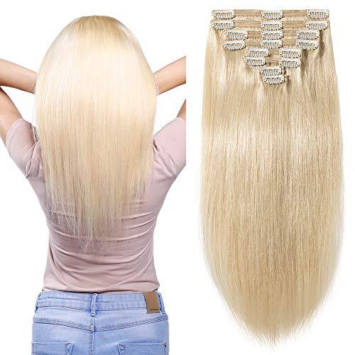 "10""-22"" Extensions Cheveux Clips Naturel Blond Maxi Epaisseur - Remy Hair - 8 Pcs Clip in Human Hair Extensions Double Weft (#60 Blond Platine, 35cm-1"