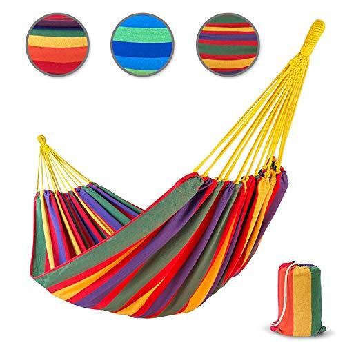 casa pura Hängematte Samui aus Baumwolle | extra Starke Seile | für 2 Personen | Tragetasche GRATIS | 250x160 cm | Hautfreundliche Doppelhängematte | Tuch-Hängematte belastbar bis 220 kg