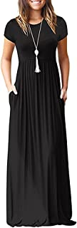 Women's Long Sleeve Loose Plain Long Maxi Casual Dresses with Pockets