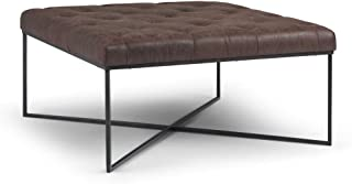 Simpli Home AXCOT-295-DBR Portman 38 inch Wide Contemporary Modern Square Coffee Table Ottoman in Distressed Brown Faux Air Leather, Fully Assembled